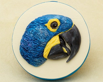 Hyacinth Macaw Sculpture, Parrot Art, Polymer Clay Bird on Wooden Keepsake Box, Tropical Bird Lover Gift, Bas Relief Sculpture