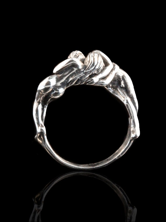 People Ring Silver - Lover's Kiss Ring - Lover's Jewelry - People Ring - Engagement Ring - Anniversary Gift - Great Gift