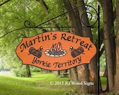 Cedar Colored Campfire Camping Sign  with logs - Custom Carved Camping Family Name Sign - Includes Round Garden Holder