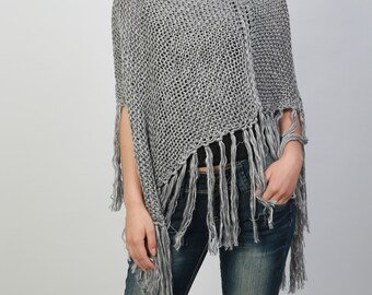 Hand knitted Little cotton poncho knit Fringe scarf knit shrug in Grey