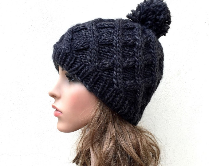 Hand Knit Hat wool  Beret Hat with Pom Pom in Charcoal diamond pattern