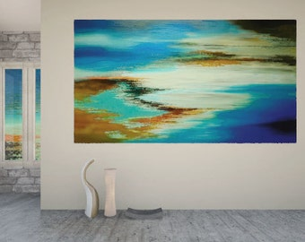 "Original Abstract Palette Knife Painting Large Wall Art Home Decor - by Tatiana Iliina -  60""x36"" - Free Shipping"