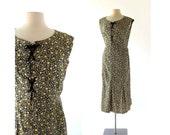 1920s Day Dress / Black Floral Dress / 20s Dress / Small S