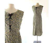 1920s Day Dress / Black Floral Dress / 20s Dress / Small S