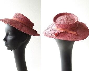 Vintage 1940s Hat / Mauve Straw Hat / 40s Hat