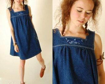 Denim Mini Dress Vintage Dark Blue Cotton Denim Embroidered Indie Boho Jumper Mini Dress (s m)