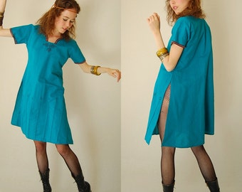 Gypsy India Dress Vintage Turquoise Embroidered Floral Draped India Boho Sari Dress (s m)
