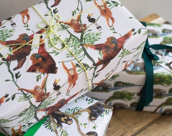 Swinging Orangutans Wrapping Paper - 100% Recycled