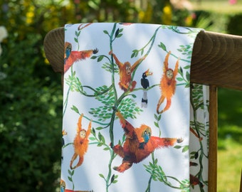 Swinging Orangutans Tea Towel / Kitchen Towel