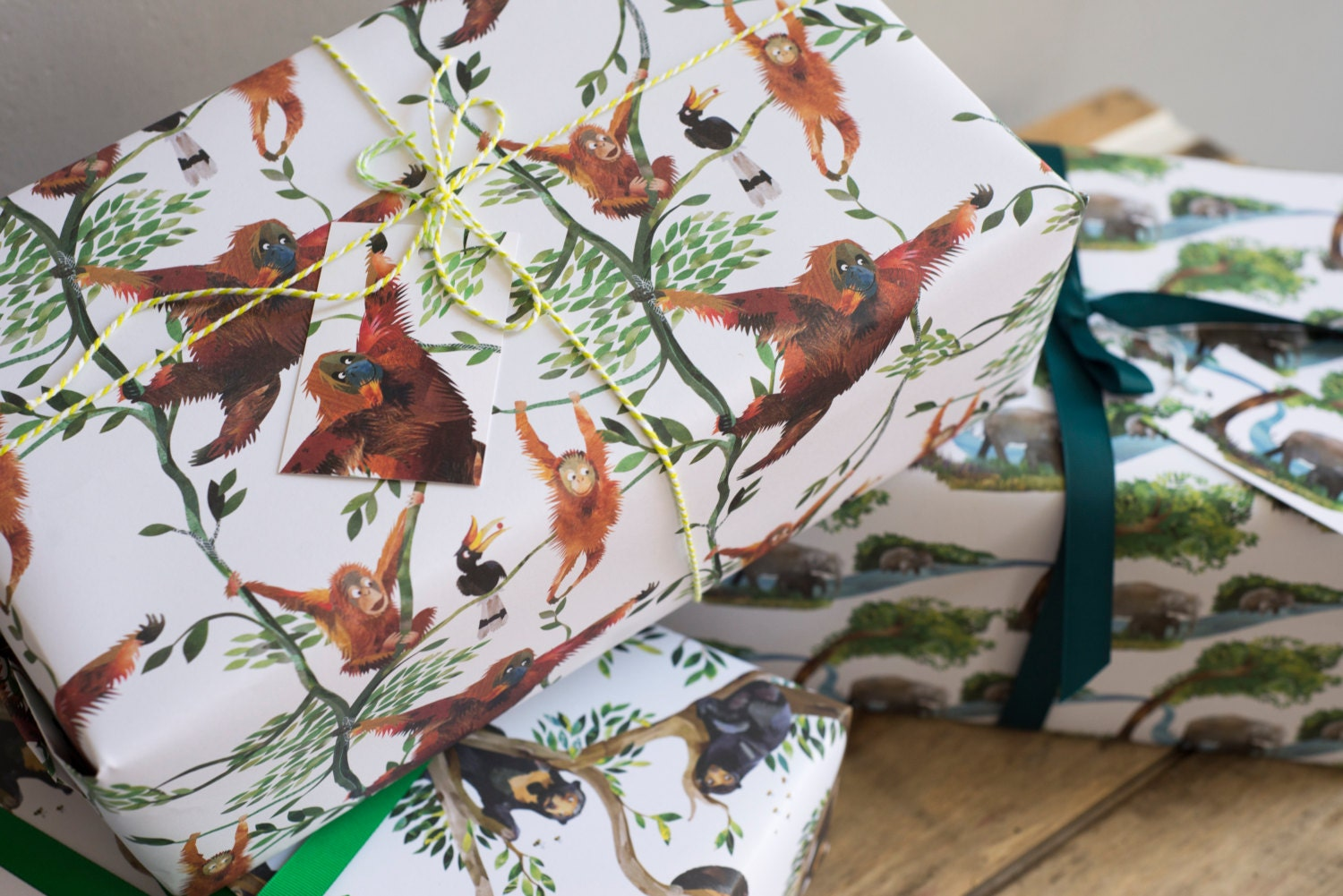 swinging orangutans wrapping paper 100 recycled. Black Bedroom Furniture Sets. Home Design Ideas