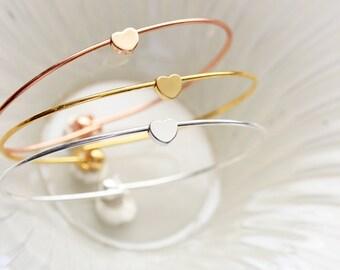 Heart Bangle Bracelet - Custom Personalized Bridesmaid Gift Gold Silver Rose Gold Tiny Dainty Heart Charm Bracelet Wedding Graduation