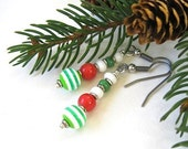 Colorful Christmas Earrings Red Green White, Sterling Silver Holiday Jewelry