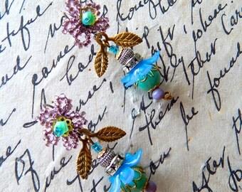 Boho Earring, Flower Earring, Beaded Earring,Bohemian Style, Gift for Her