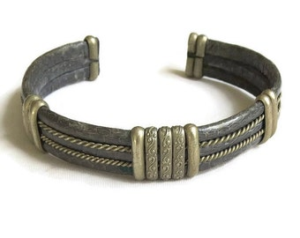 Vintage Pewter and Snake Skin Cuff Bracelet – Ethnic Tribal