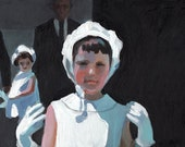 Noble girls- Bourgeoisie -Original acrylic painting on mdf - ORIGINAL ART - vintage girls painting