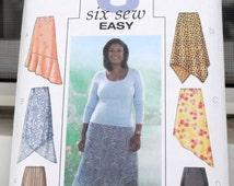 Butterick 4086 - Easy Plus Size Skirts - Asymmetrical Hem - High Lo / Hi Lo Hem - Size 28W, 30W, 32W - UNCUT Pattern