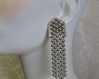 Modernist Earrings Punk Rocker Silver Beaded Chain Long Dangle Statement Pierced Post Silver Leather Chevron Hand Crafted One of a Kind OOAK
