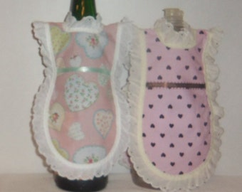Wine Bottle Apron, Handmade, Pink Brown Hearts, Dish Soap, Detergent Cover,  Eyelet Lace, Cottage Chic, Kitchen Decor