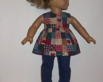 18 Inch Doll Outfit, Sleeveless Blouse, Navy Blue Leggings, Country Hearts Shirt, Pants, American Made, Girl Doll Clothes