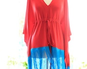 Red Tunic Top with Turquoise Fringe - Bohemian Fashion Caftan Shirt
