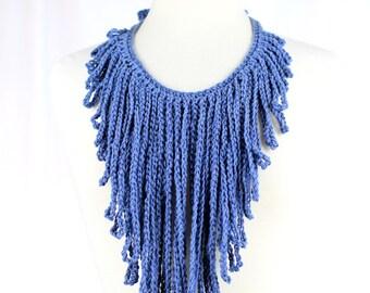 Denim Blue Crochet Fringe Statment Necklace