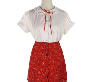 1990s Kids' Red Bandana Print Skirt - Vintage New Old Stock Red Cotton Country Girl by Antique Boutique - size Child Small