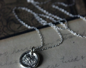 The Fates Pendant Necklace. Hand Forged Rustic Fine Silver Medallion Pendant and Sterling Silver Necklace.