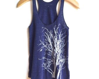 Tree Tank top, Indigo Tree shirt blue arbor sleeveless women's shirt, women's clothing, tree boho chic yoga chic racerback nature tank top