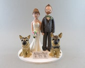 Bride & Groom with German shepherds Personalized Wedding Cake Topper