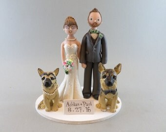 Bride & Groom with German shepherds Personalized Wedding Cake Topper