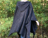 Black Magic - A Mysterious Hooded Poncho with Vneck