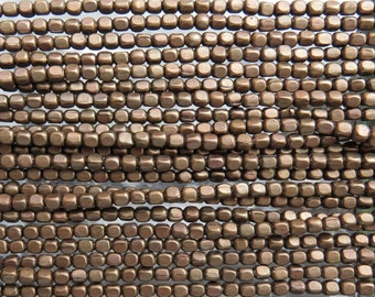 3.5mm (1mm hole) Aged Solid Brass Metal Cornerless Cube Beads - 24 Inch Strand (BW396)