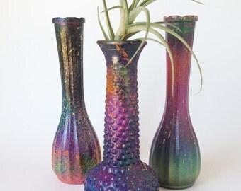 Milk Glass Vase Set of 3, Upcycled Painted Vase, Retro Vase, 60's Mod, Mid Century Vase