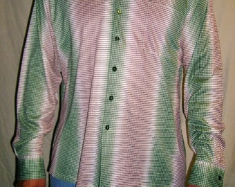 Vintage Green Beige Striped Button Up Shirt L