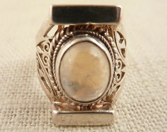 Size 5.5 Vintage Sterling Rainbow Moonstone Ring with Ornate Filigree Band