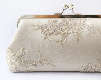 Metallic silver and gold Alencon Lace Bridal Clutch in Champagne 8-inches