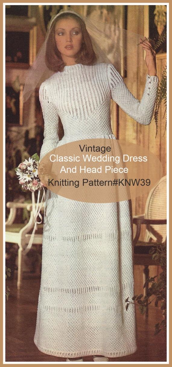 Bootie Knitting Patterns Easy : Vintage Wedding Dress Knitting Pattern Bridal Dress Knitting