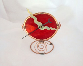 Bedside Clock, Red Clock, Wee clock, Glass Clock, Little Clock, Desk Clock, Guy Gift, Hostess Gift