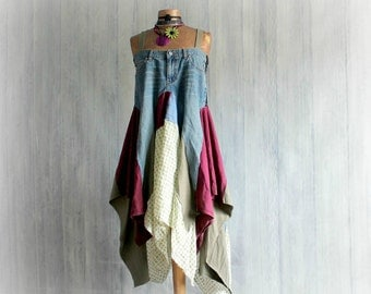 Rustic Sundress Upcycled Jeans Blue Boho Dress Festival Clothes Kerchief Tunic Dress Mori Girl Clothing Lagenlook Style Eco Friendly L 'ERIN