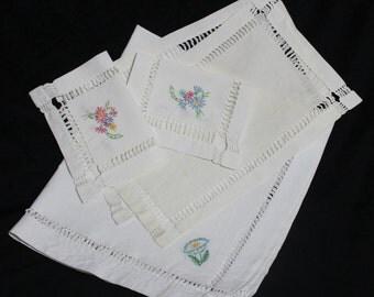 Vintage linen set, hand embroidered, 5 pcs.