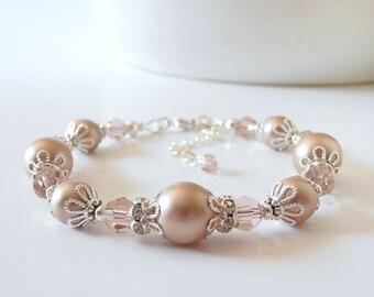 Pink Champagne Bridesmaid Bracelets, Rum Pink Wedding Jewelry, Swarovski Pearl Bridal Jewelry, Rose Gold Pearl Bracelet, Bridesmaid Jewelry