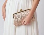 Rose Gold Sequin Clutch | Blush Bridesmaid Clutch Purse | Pink Clutch | Monogram Clutch [Ella Clutch]