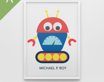 Baby Robots art print for boys nursery in bold primary colors personalized wall art