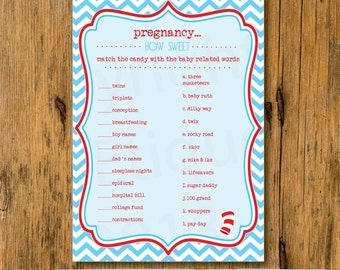 INSTANT UPLOAD  Baby Shower Game Candy Matching Game -Dr. Suess Cat In The Hat Inspired -Boy Baby Shower Game-Suess Shower Game - Boy Shower