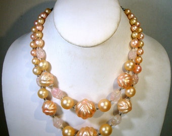 Pastel Pearl Necklace SALE, Mad Men Baby Pink Wacky Dramatic Pearl Beads,  2 Strands, 1950s Japan, Adjustable length