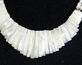 Mother of Pearl Bib Style Art Deco Necklace White Shell Spikes Translucent Beads Iridescent Beauty