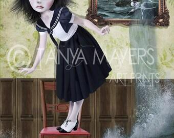 Sailor Girl Art Print - Big Eye Art - Big Eyed Girl - Sea - Flood  - Stranded