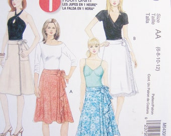 McCall's M5430 Easy Sewing Pattern, Misses' Wrap Skirts, Pleats, Pockets Ruffle Detail 1 Hour Easy to Sew Skirt, Size 6-12, Pattern Destash