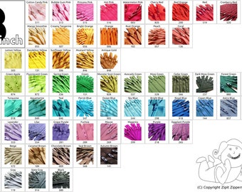 8 Inch (100) pieces YKK Brand Zippers Mix and Match- Your choice- Choose from 65 light, bright, dark and neutral colors