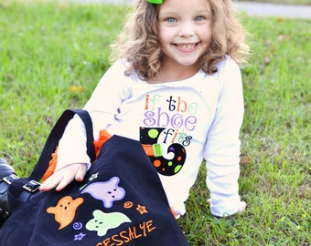 Girls Personalized If The Shoe Fits Applique Shirt, Halloween Applique Shirt, Witch's Shoe Applique, Fall Shirt, Fall Applique Shirt, LDM